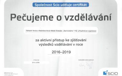 Certifikát SCIO